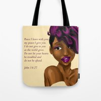 scripture Tote Bags featuring Splash of Color (with scripture) by RM2 Designs