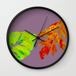 Autumn Leaves in orange, brown, yellow, green on light purple mauve Wall Clock