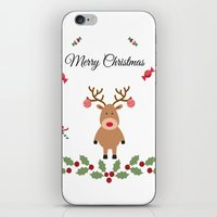 merry christmas iPhone & iPod Skins featuring Merry Christmas by haroulita