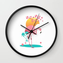 Japanese Retro Art Pink Flamingo Blossom Vaporwave Men Gift T-Shirt Wall Clock