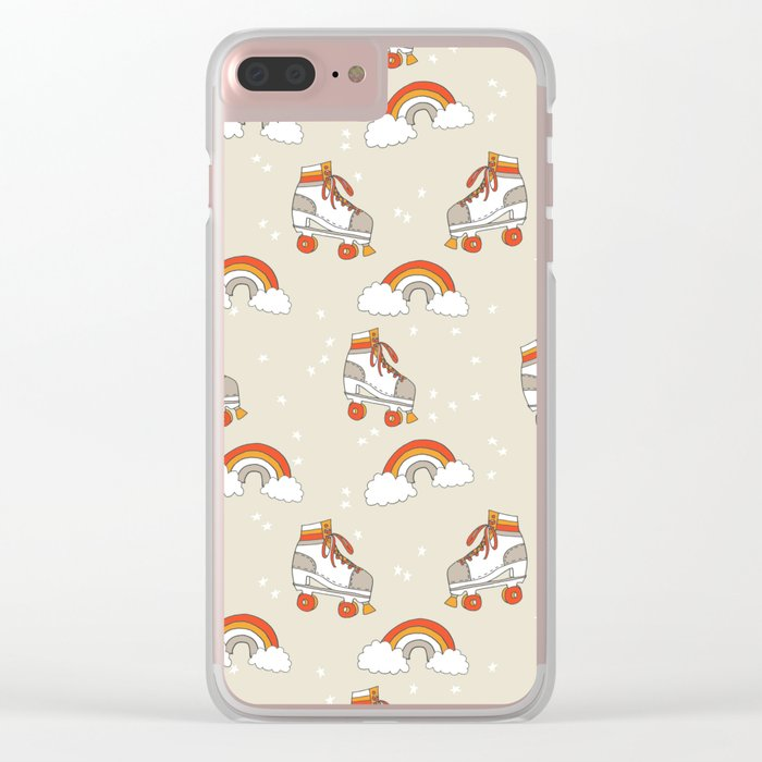 Rollerskates nostalgia pattern print cute 80s rainbows retro style by andrea lauren Clear iPhone Case