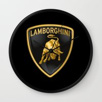 lamborghini Wall Clocks featuring Lamborghini Logo by I Love Decor