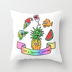 i am a tropical simpson Throw Pillow