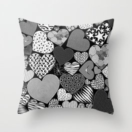 Love Hearts Doodle Art Pattern Throw Pillow