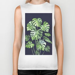 Delicate Monstera Blue #society6 Biker Tank