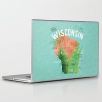 wisconsin Laptop & iPad Skins featuring Wisconsin Map by Stephanie Marie Steinhauer