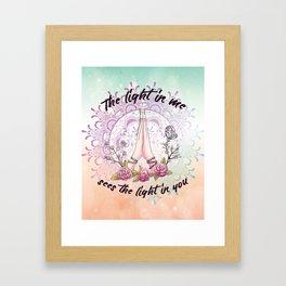 Boho Yoga Hands - Namaste - the light in me sees the light in you Framed Art Print