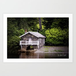 Boatshed On The Lake Art Print