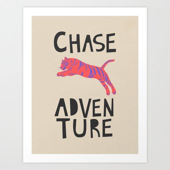 Chase Adventure, nursery art, children's art Art Print