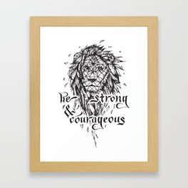 Be Strong & Courageous, Geometric Lion Framed Art Print