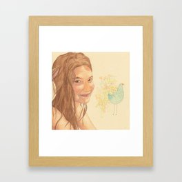 The bird girl Framed Art Print