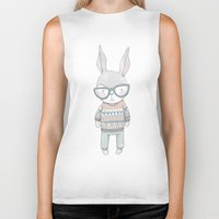bunnies Biker Tanks featuring BUNNIES by Catalina Graphic