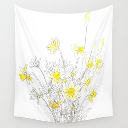 white daisy and yellow daffodils ink and watercolor Wall Tapestry