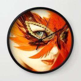 Masquerade Golden Mask Wall Clock