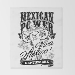 Mexican Power Black Throw Blanket