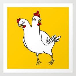Chicken Dos Cabezas Art Print