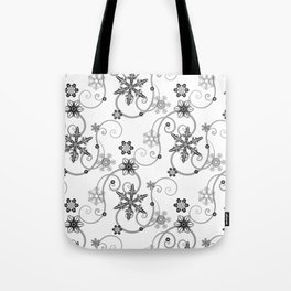 Snowflakes (Black) Tote Bag