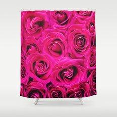 Romantic Pink Purple Roses Pattern Shower Curtain