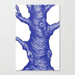 Big Old Tree Illustration in Denim Blue Canvas Print