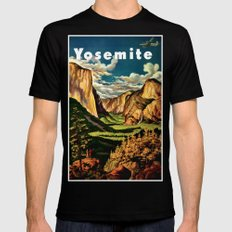 Yosemite National Park - Vintage Travel Black Mens Fitted Tee LARGE