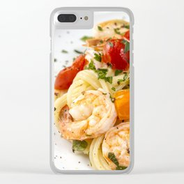 Spaghetti pasta with prawns Clear iPhone Case