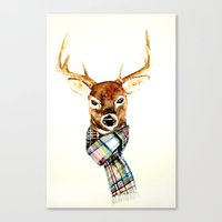 craftberrybush Canvas Prints featuring Deer buck with winter scarf - watercolor by craftberrybush