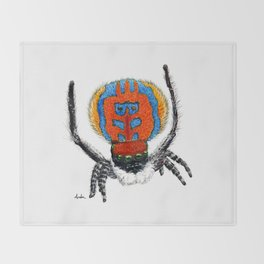 Peacock Spider Throw Blanket