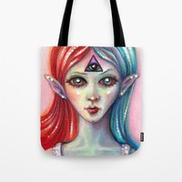 third eye Tote Bags featuring Third Eye by Mary Nason (MiaSnow)