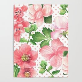 Pink Flowers on Pink Polka Dots Poster
