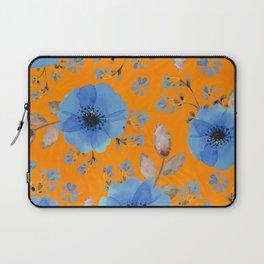 Blue flowers with orange Laptop Sleeve
