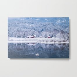 Red wooden houses in winter, Norway Metal Print
