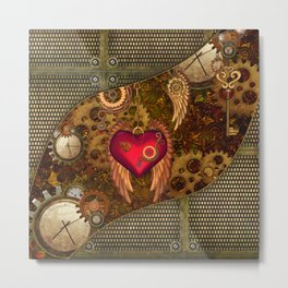 Steampunk, heart with wings Metal Print