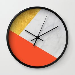Carrara Marble with Gold and Pantone Flame Color Wall Clock