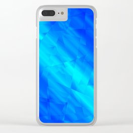 Glowing metallic blue fragments of yellow crystals on irregularly shaped triangles. Clear iPhone Case