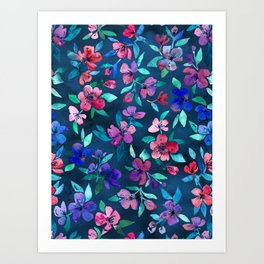 Southern Summer Floral - navy + colors Art Print
