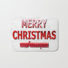 Merry Christmas With Red Cracker in Snow Bath Mat