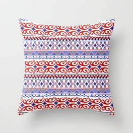 Pop Art in Red White and Blue Throw Pillow