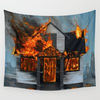 carl sagan Wall Tapestries featuring House on Fire by FAMOUS WHEN DEAD
