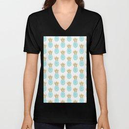 Elegant faux gold pineapple pattern Unisex V-Neck
