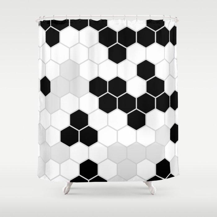 Honeycomb Pattern | Black and White Design | Minimalism Shower Curtain