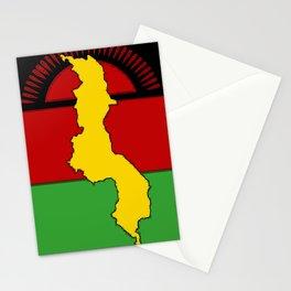 Malawi Map on a Malawian Flag Stationery Cards