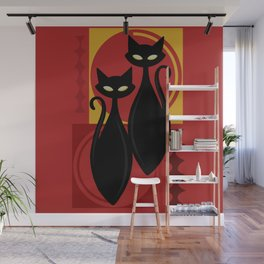 Devilishly Delightful Atomic Age Black Kitschy Cats Wall Mural