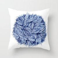 furry Throw Pillows featuring furry by grafillu