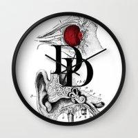 daredevil Wall Clocks featuring Etude - Daredevil by Greg-guillemin