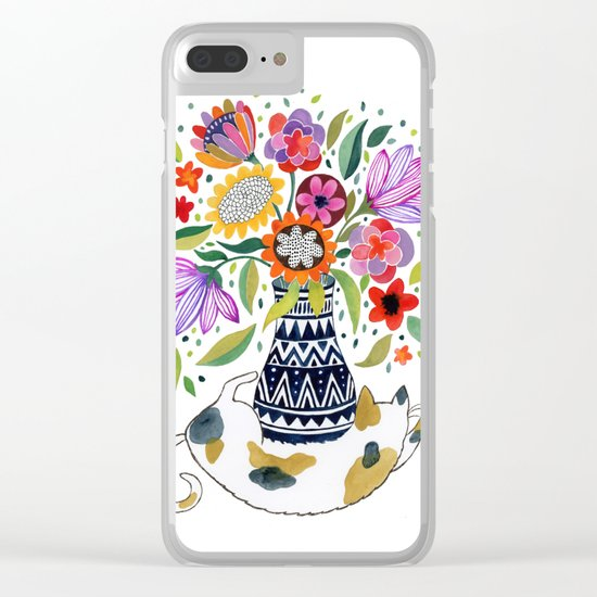 Calico Bouquet Clear iPhone Case