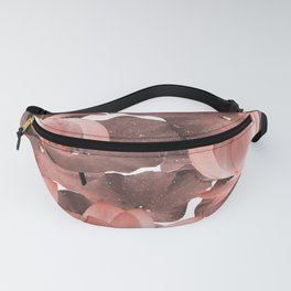 Ethereal Red Lotus Flower - Tropical, Botanical Art - Red Water Lily - Lotus Pattern - Red, Brown Fanny Pack