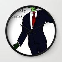 obama Wall Clocks featuring Barackly Obama by Pattavina