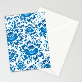 Vintage shabby Chic spring romantic pattern with sky blue flowers Stationery Cards