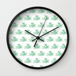 green flowers pattern Wall Clock