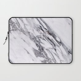 Alabaster White Marble With Charcoal Veins Texture Laptop Sleeve